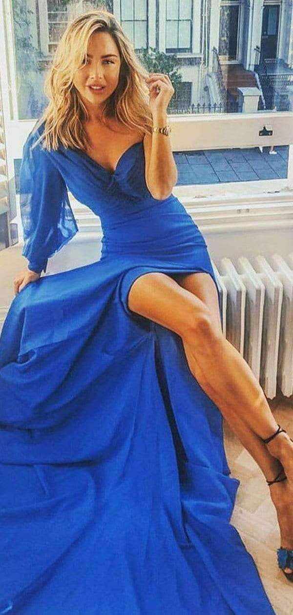 Royal Blue Unique One Shoulder Long Sleeve With Slit Prom Dresses,PD00321