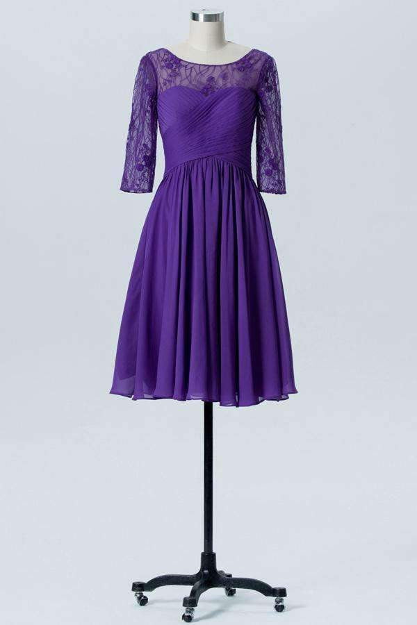 Royal Purple A Line Knee Length Sheer Neck 3/4 Sleeve V Back Bridesmaid Dresses B173