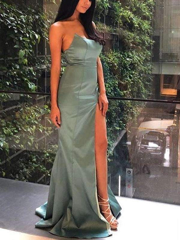 Sage Satin Strapless Simple Silt Long Prom Dresses,PD00168
