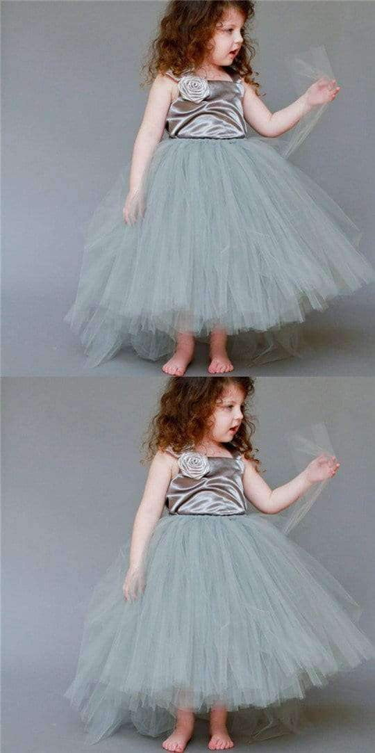 Satin Top Strap Tulle Flower Girl Dresses, Cute Little Girl Birthday Dresses, Free Custom Dresses,  FG038