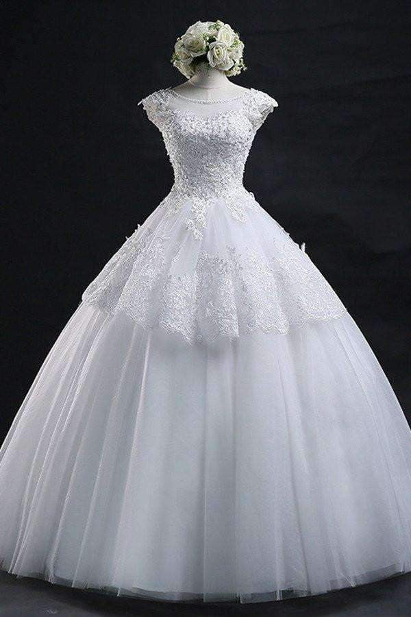Scoop Long Lace-up Tulle Wedding Dress Ball Gown With Appliques W26