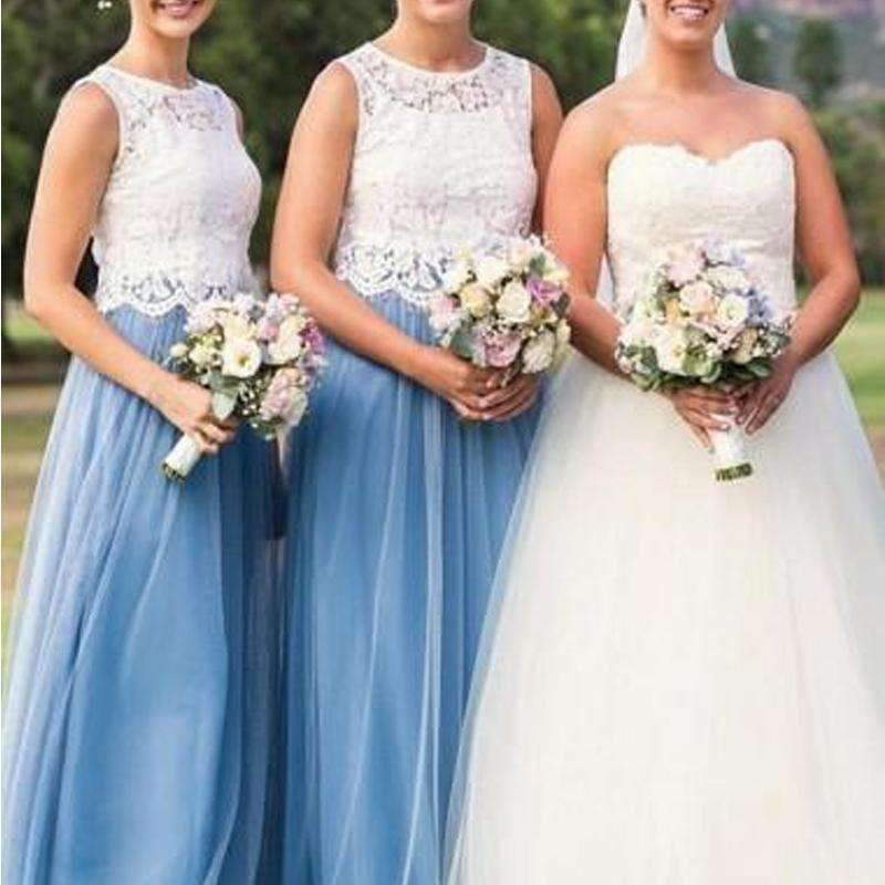 Scoop Neck Sleeveless Lace Appliques A Line Tulle Long Bridesmaid Dresses