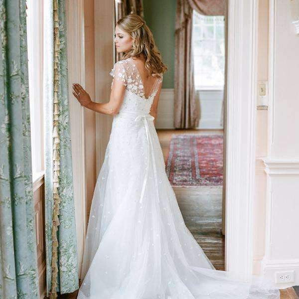 See Through Neck Cap Sleeve Charming Applique Bead Tulle A-line Wedding Dresses, WD0146