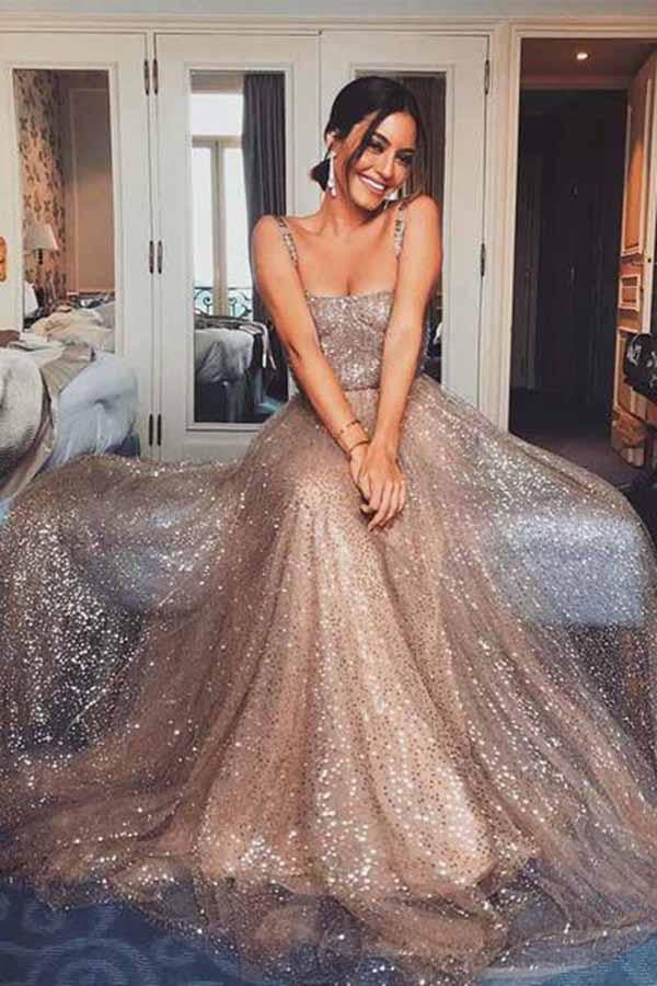 Stunning Spaghetti Straps Sweetheart A Line Prom Dress with Sequins P856