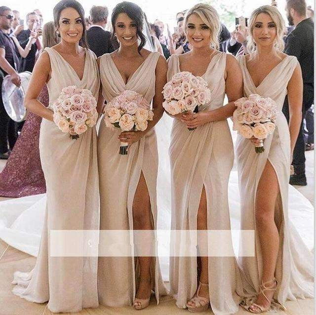 Sexy 2019 Cheap Bridesmaid Dresses Mermaid Deep V-neck Chiffon Slit Long Wedding Party Dresses For Women