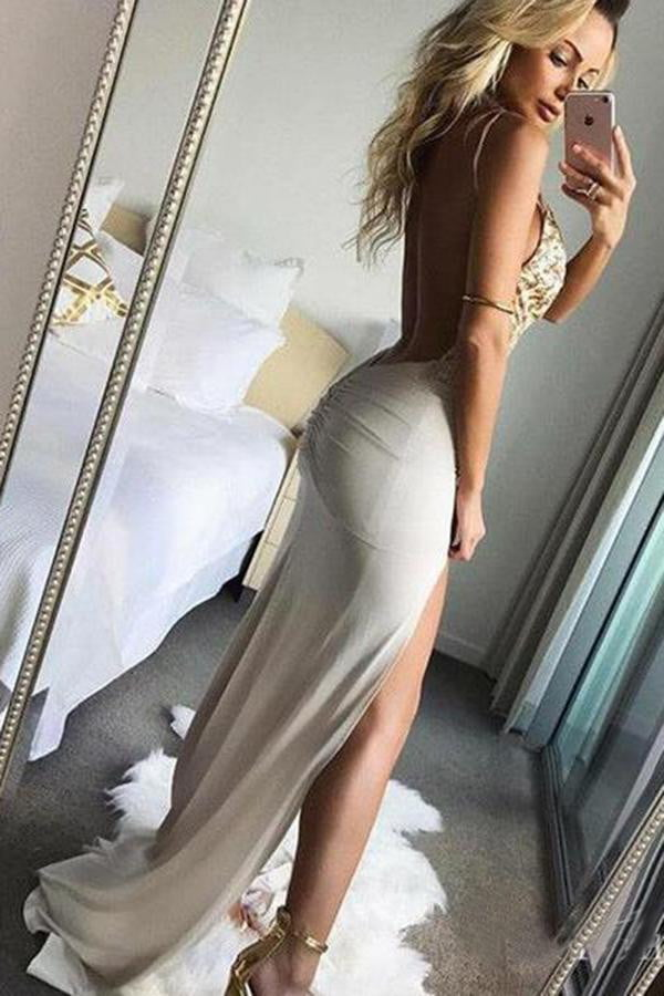 Spaghetti Straps Split Side V Neck Prom Dresses Long Party Dresses P968