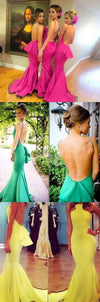Sexy Backless Mermaid Young Girls Rose Red Long Bridesmaid Dresses with Small Train, WG131