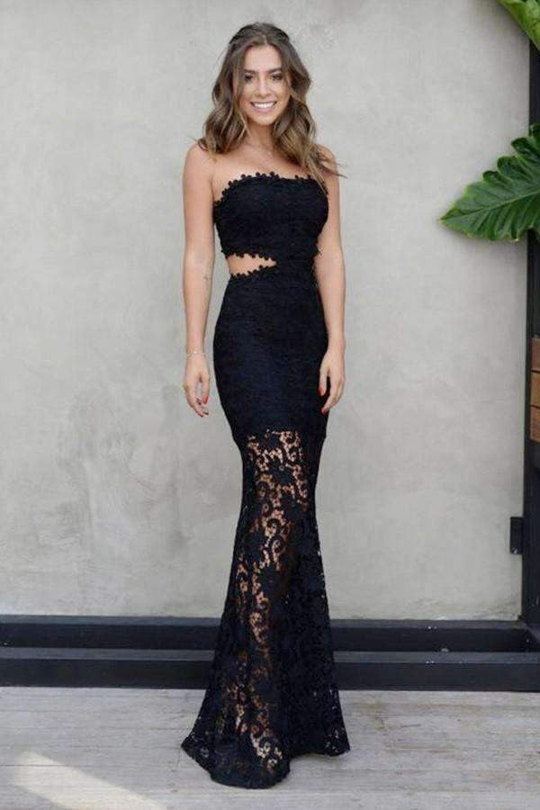 Sexy Black Strapless Mermaid Floor Length Prom Dress with Lace Appliques P824
