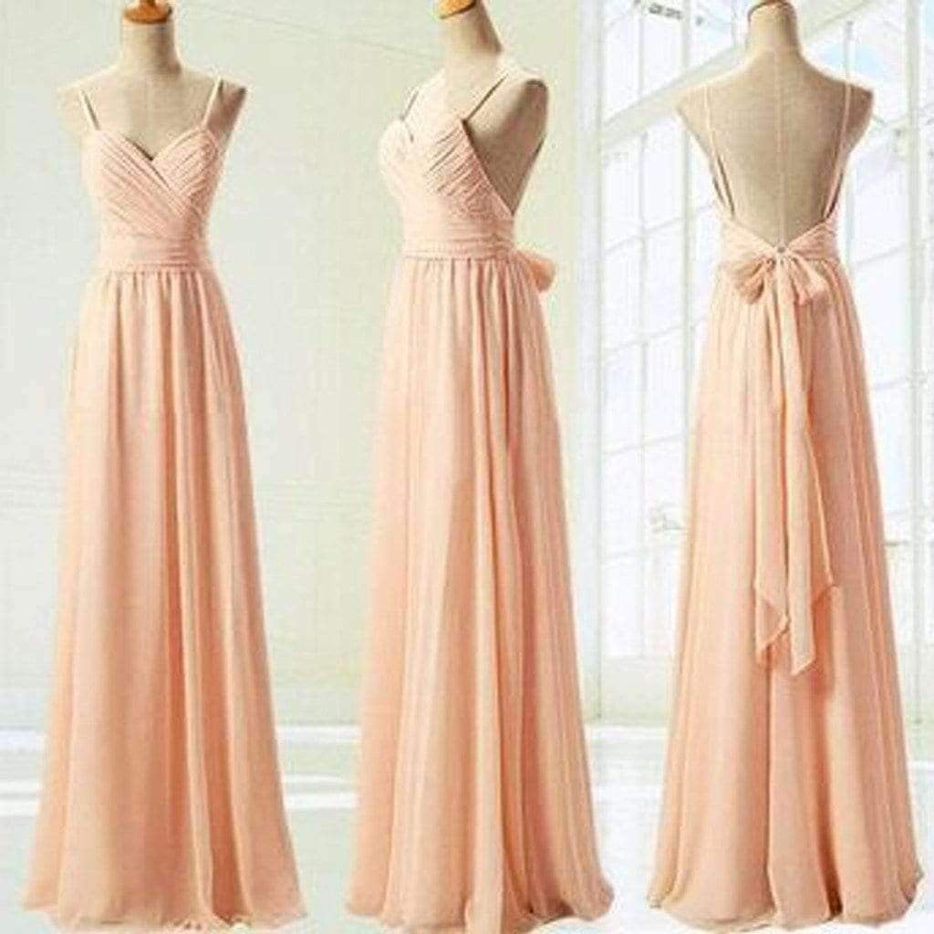 Sexy Blush Pink Spaghetti strap Backless Chiffon Floor length Bridesmaid Dresses