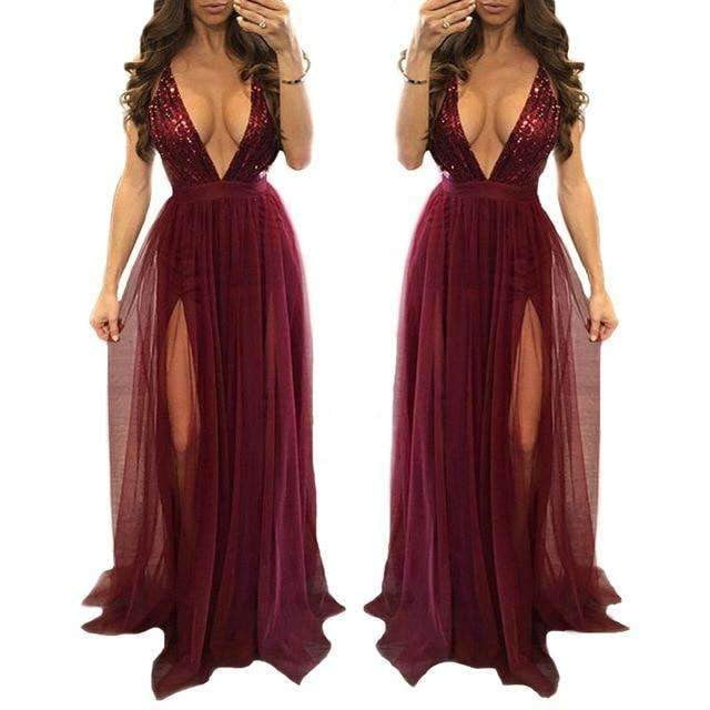 Sexy Burgundy Prom Dresses Long 2019 New Tulle A-line Sleeveless Halter Sequined Sparkle Women Fashion Evening Party Gowns