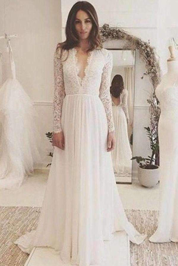 Sexy Deep V-neck Lace Long Sleeve Floor Length Wedding Dresses W307