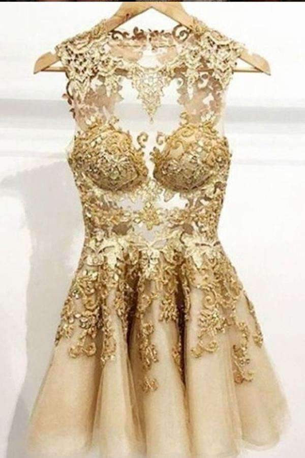 Sexy Gold Backless Tulle Homecoming Dress,Applique Sleeveless Short Prom Dress HCD72