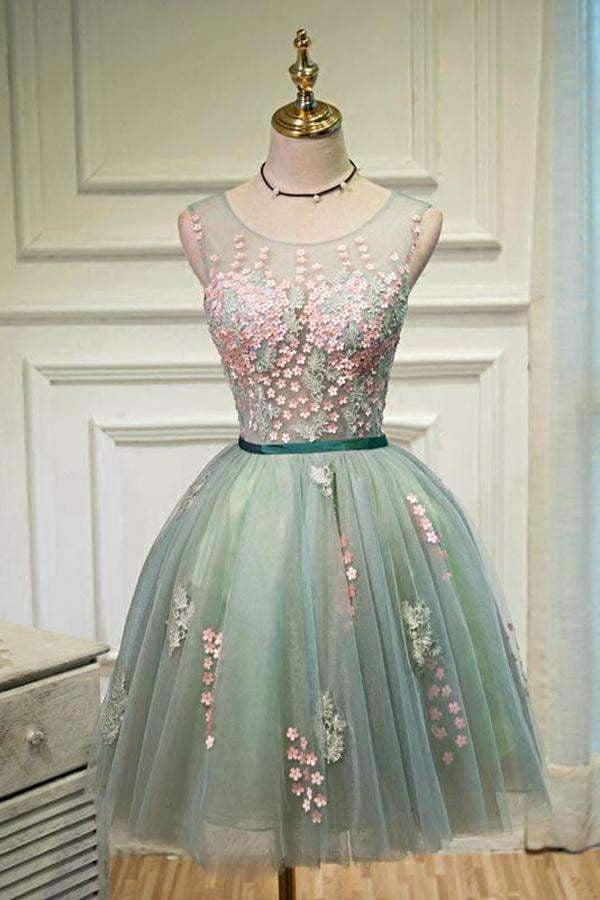 Sexy Green A-line Scoop Tulle Ball Gown Sleeveless Lace-up Appliques Homecoming Dresses M313