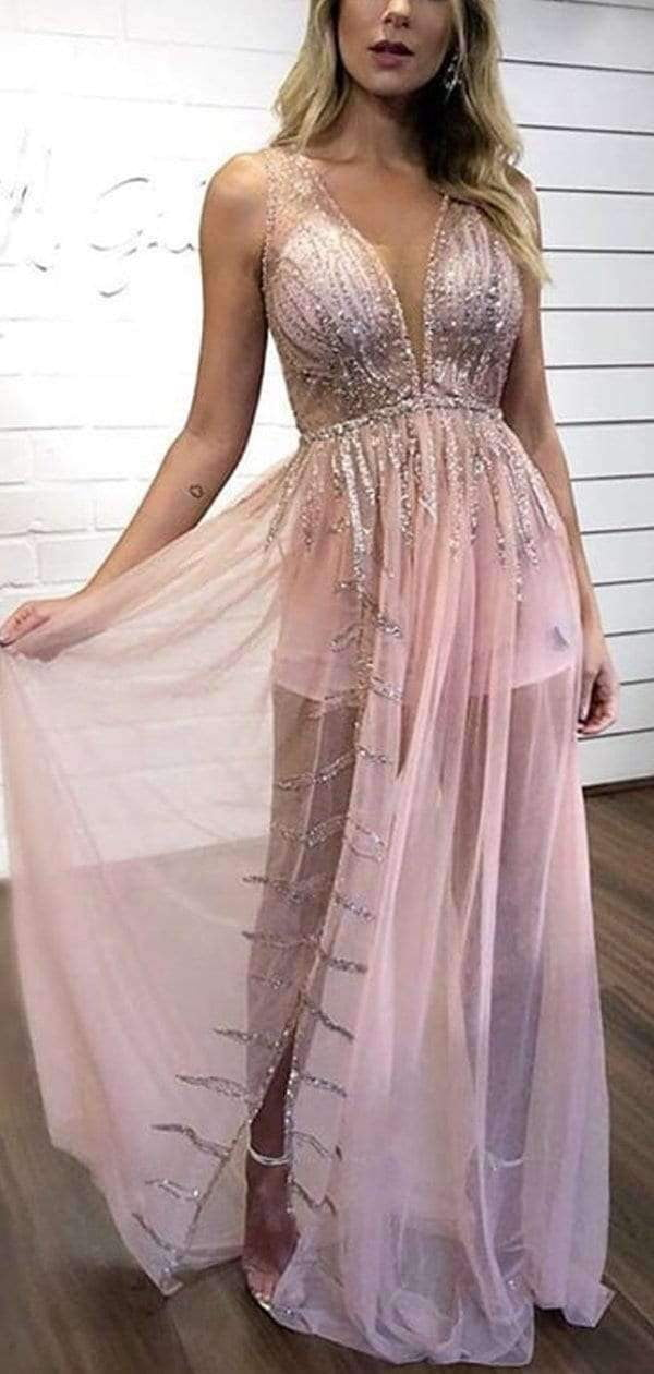 Sexy Illusion Pink Chiffon Silver Sequin Long Prom Dresses,PD00289