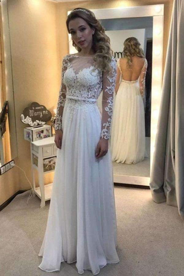 Sexy Lace Long Sleeve Round Neck With Applique Wedding Dresses W327