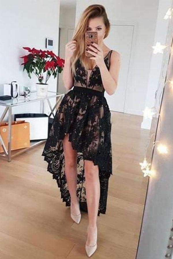 Sexy Lace Short Front Long Back V-neck Homecoming Dress M503
