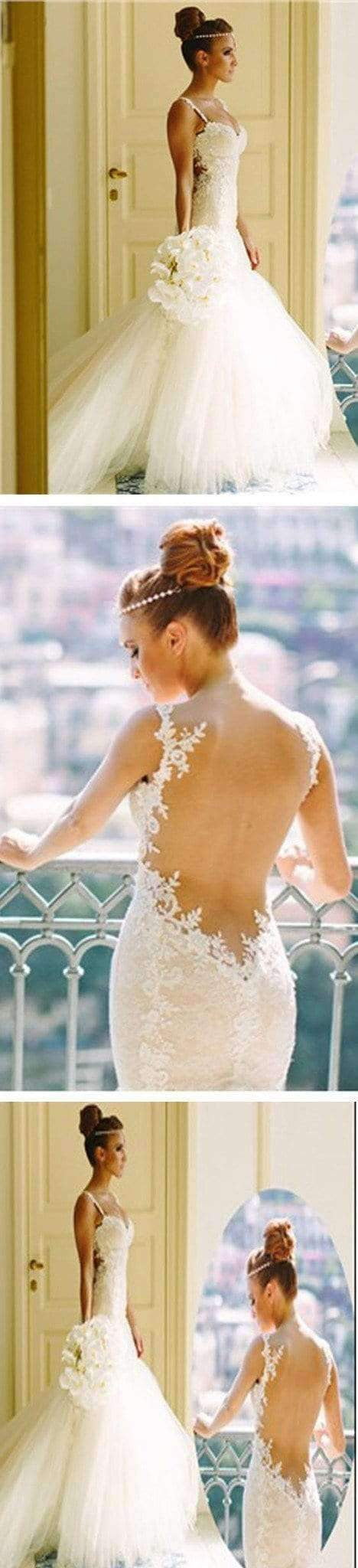 Sexy Mermaid Backless Spaghetti Lace Cheap Tulle Wedding Dresses, WD0147
