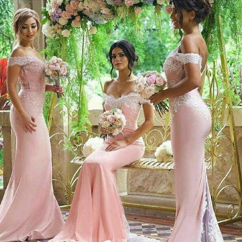 Sexy Mermaid Pink Off Shoulder Lace Long Bridesmaid Dresses for Wedding Party, WG155