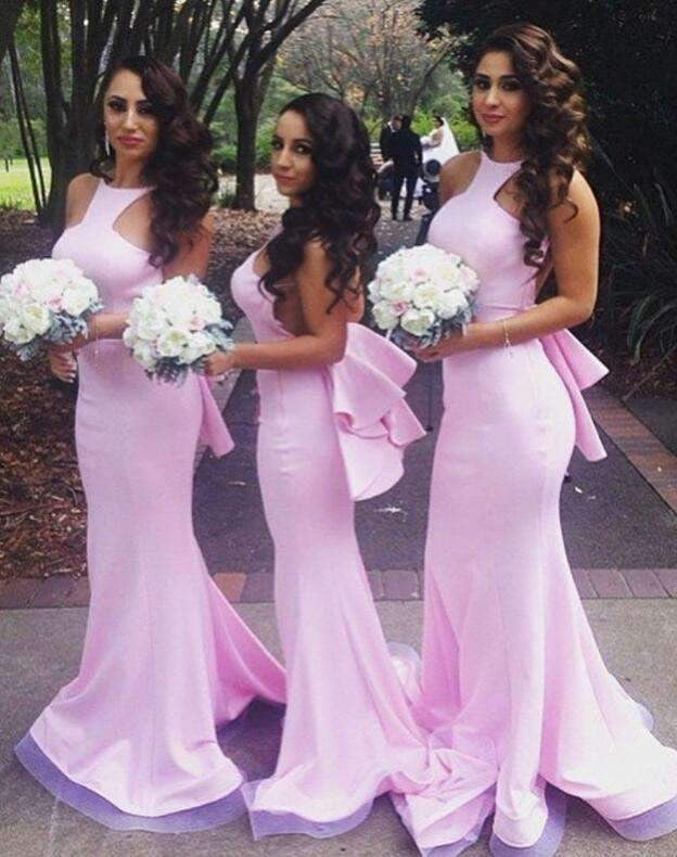 Sexy Pink Sleeveless Backless Mermaid Prom Dresses Long Bridesmaid Dresses