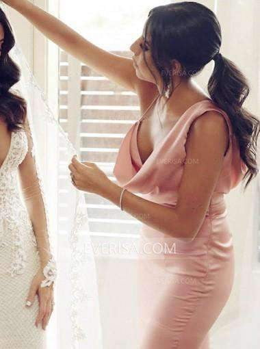 Sexy Pink Sleeveless Side Slit Bridesmaid Dresses Long Prom Dresses