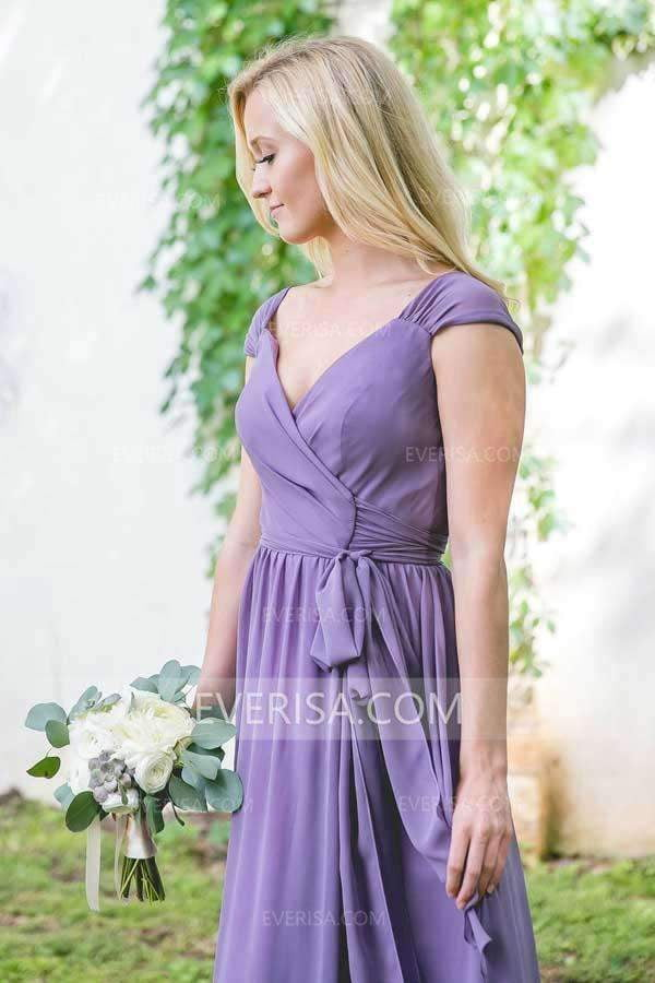 Sexy Purple V-Neck Cap Sleeves Chiffon Bridesmaid Dress Cheap Prom Dress