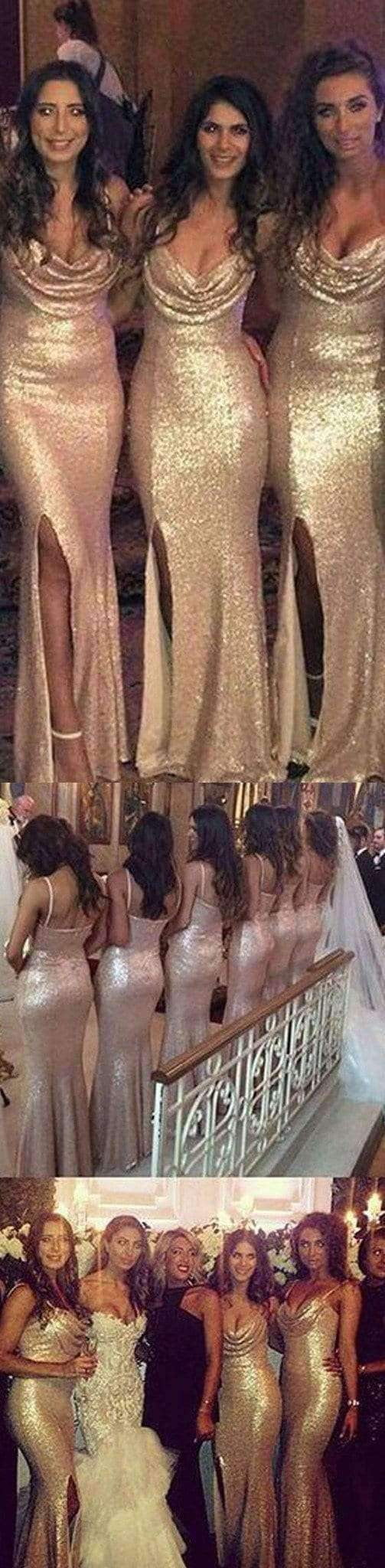 Sexy Seqin Mermaid Side Split Sparkly Women Cheap Long Wedding Party Bridesmaid Dresses, WG26