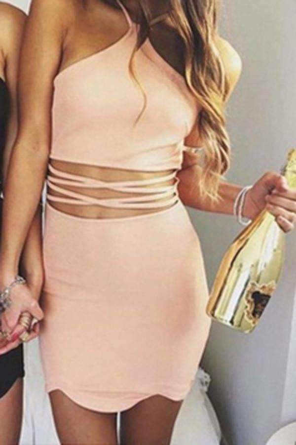 Sexy Sleeveless Homecoming Dress,Simple Tight Round Neck Short Prom Dresses HCD40