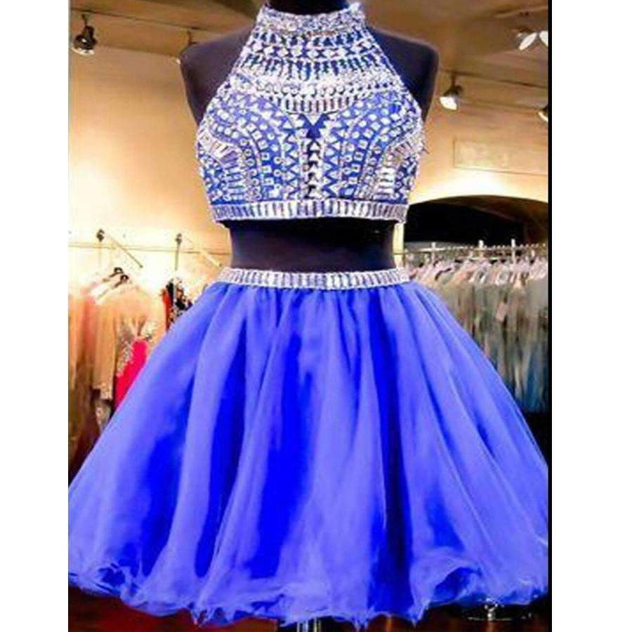 Sexy two pieces beaded Royal Blue short homecoming prom dresses, CM0028