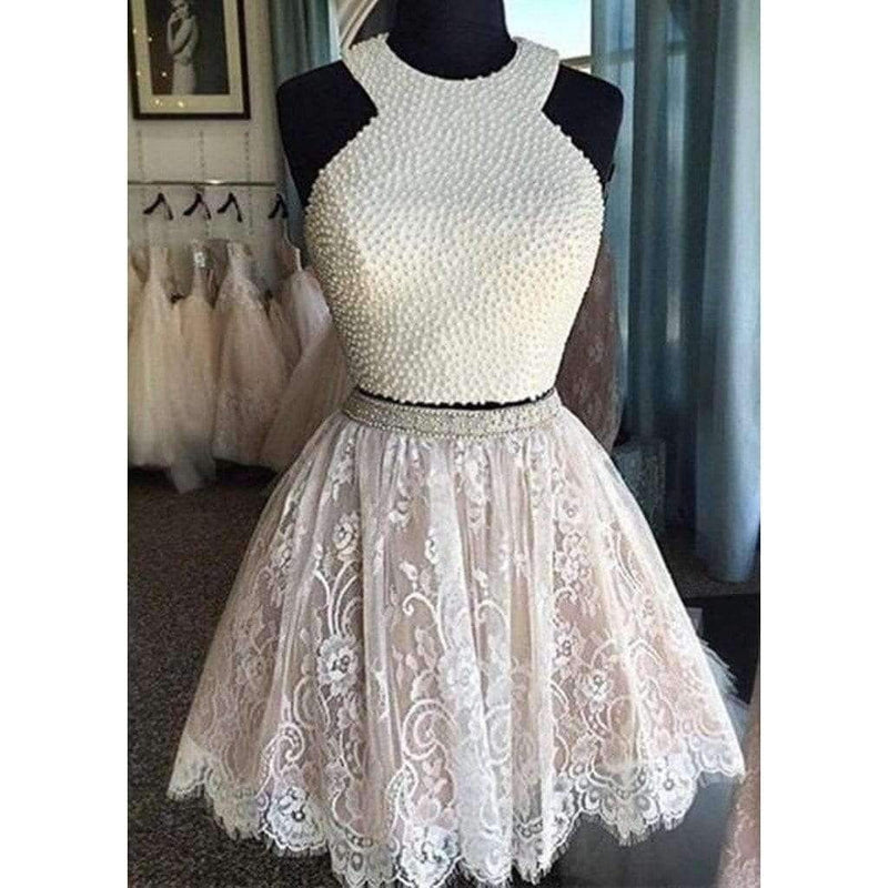 Sexy Two Pieces Halter Lace Beads Cute Junior Homecoming Prom Dresses, CM0010
