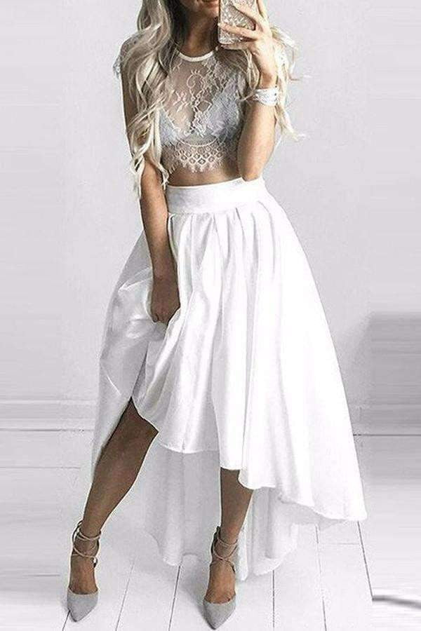 Sexy White Two Piece Scoop A-line High Low Lace Homecoming Dresses M317