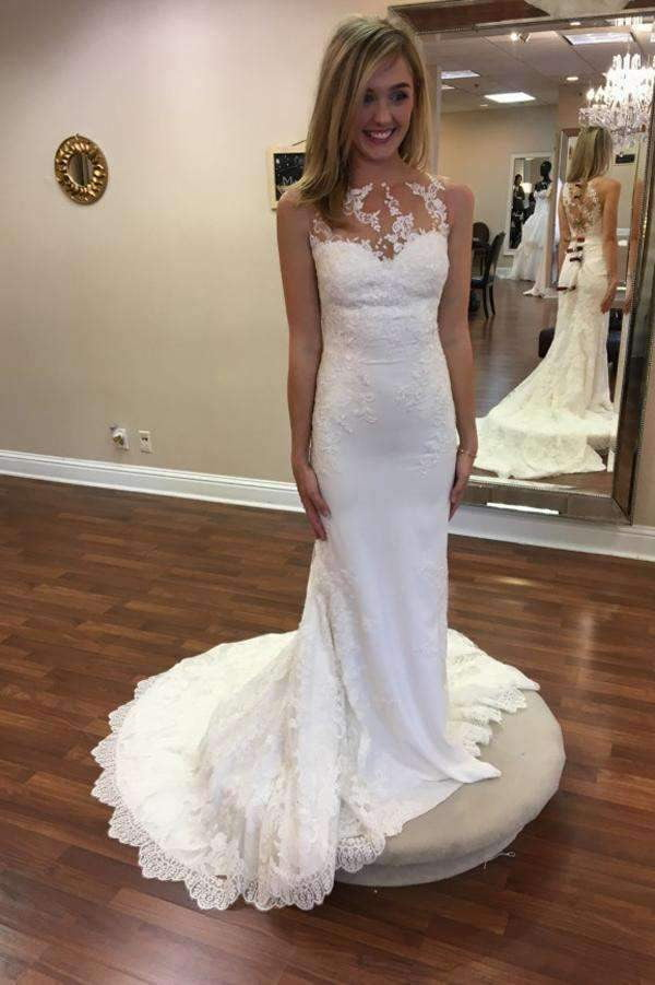 Sheer Sleeveless Sweep Train Wedding Gown,Appliques Wedding Dress SW124