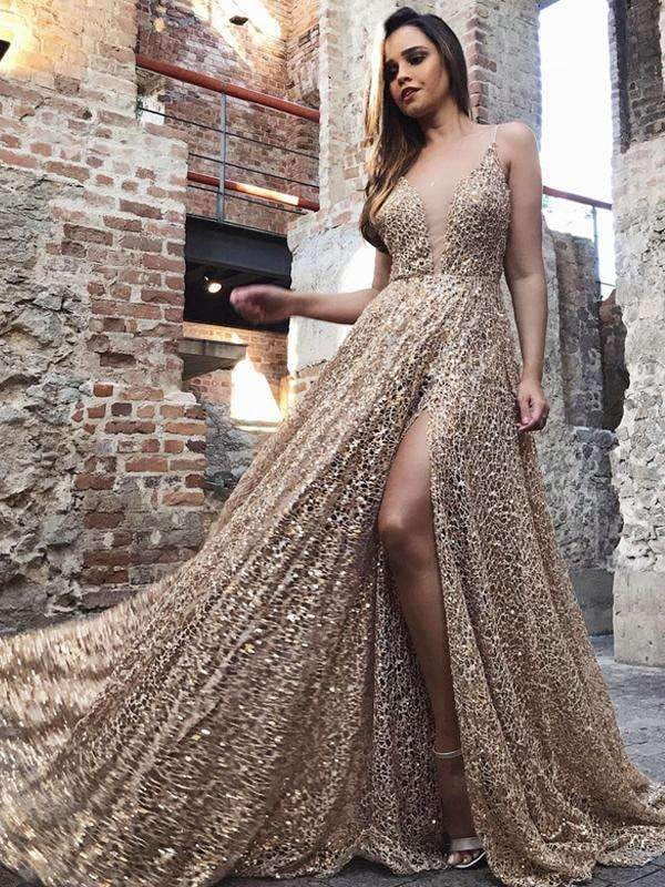 Shiny Gold Sequin Lace Spaghetti Strap A-line Prom Dresses,PD00173