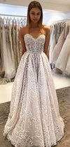 Shiny Lace Sreapless A-line Charming Wedding Dresses, AB1517