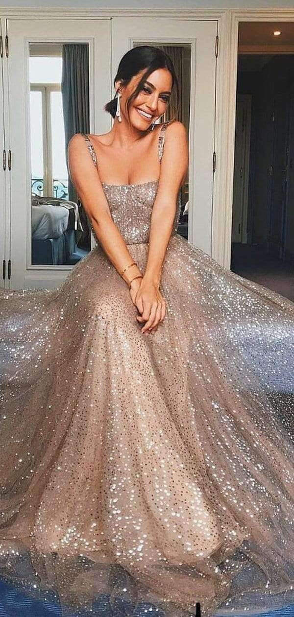 Shiny  Sequin Square Neck A-line Prom Dresses,PD00182