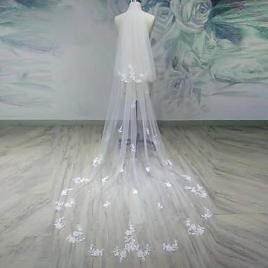 Two-tier Cut Edge Wedding Veil Tulle Applique Chapel Veils  V18