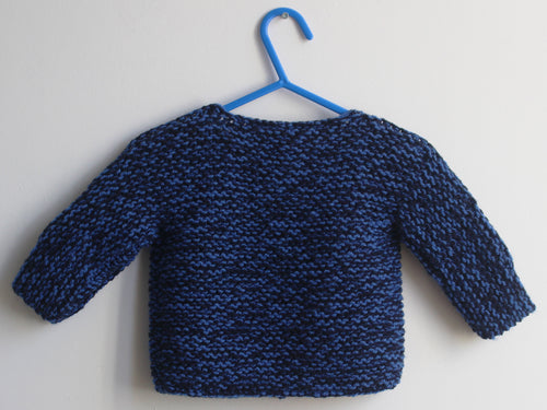 Hand knited Cardigan - Navy and blue