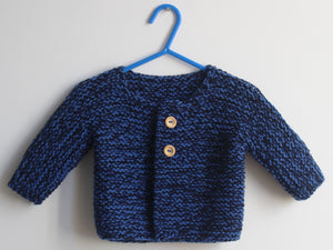 SALE Hand knitted Cardigan - Navy and blue