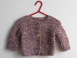 Hand knited Cardigan - Prune and cream