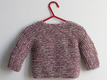 Load image into Gallery viewer, Hand knited Cardigan - Prune and cream