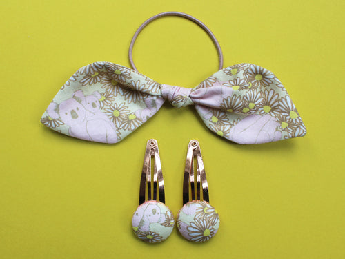 Hair Accessories - Koala Print Lemon