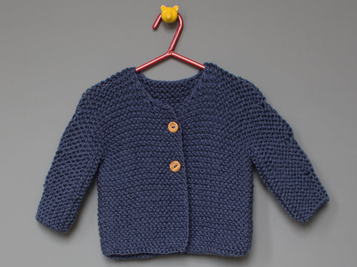 Hand knited Cardigan - Denim blue
