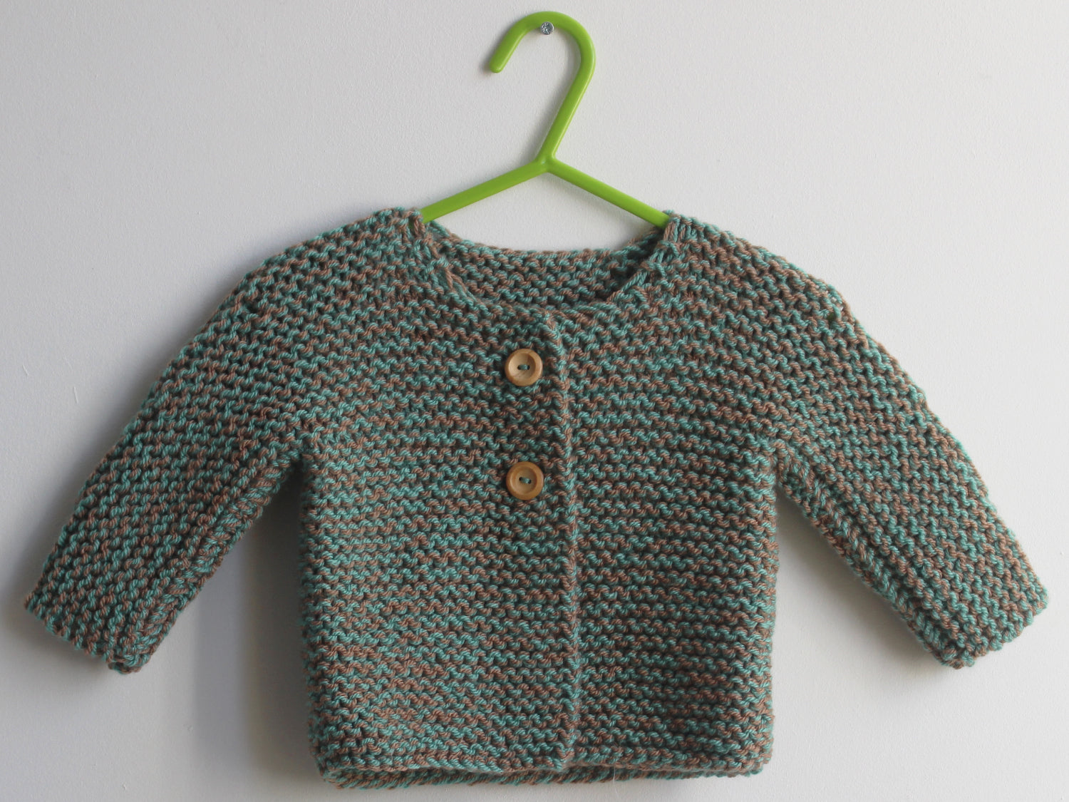 SALE Hand knitted Cardigan green and taupe