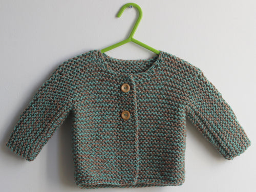 Hand knited Cardigan - green and taupe