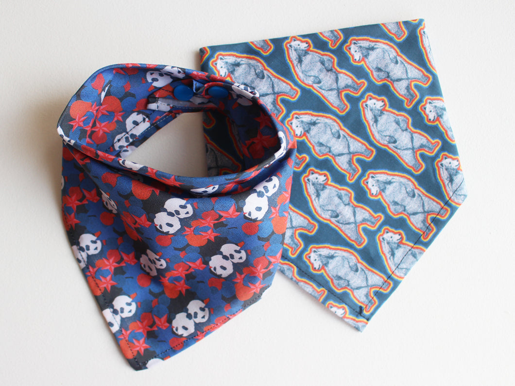 NECKERCHIEF BIB SET - Grizzly & Panda