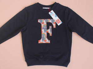 INITIAL SWEATSHIRT - ORANGE RAINBOW PRINT