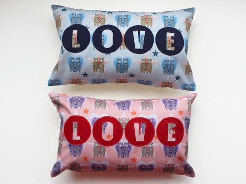 BEAR PRINT 'LOVE' CUSHION COVER