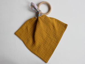 PERSONALISED TEETHING RING - MUSTARD