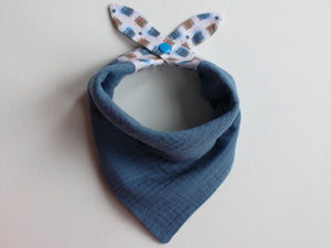MUSLIN BIB - TWIN BEAR BLUE