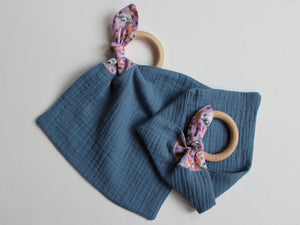 MUZZY TEETHING RING - PINK & BLUE