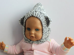 BEAR BALACLAVA grey & cream